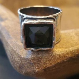 Silpada wide band ring with brown stone